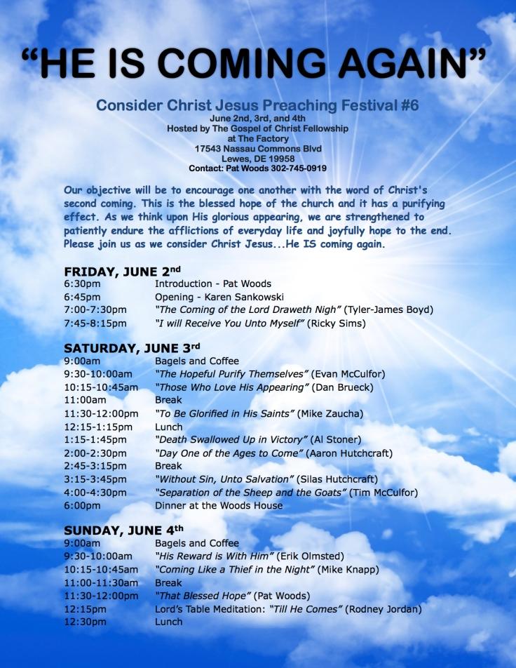 Consider Christ Jesus #6 - Flier-Schedule